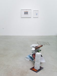 Metadata, Prisons, Meditarranean & Palais de justice with marble 2018 95x55x45cm, Mexican white marble, c-prints, a4 laser print
